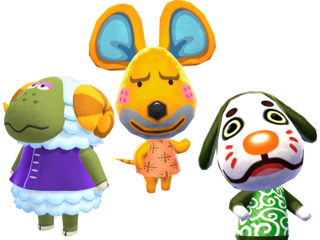 Three ugly villagers from the recent Animal Crossing games